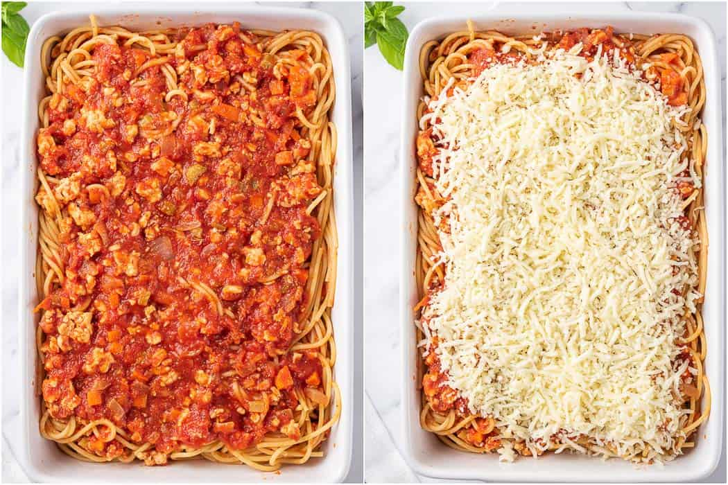 spaghetti transferred to a baking dish and topped with cheese before baking