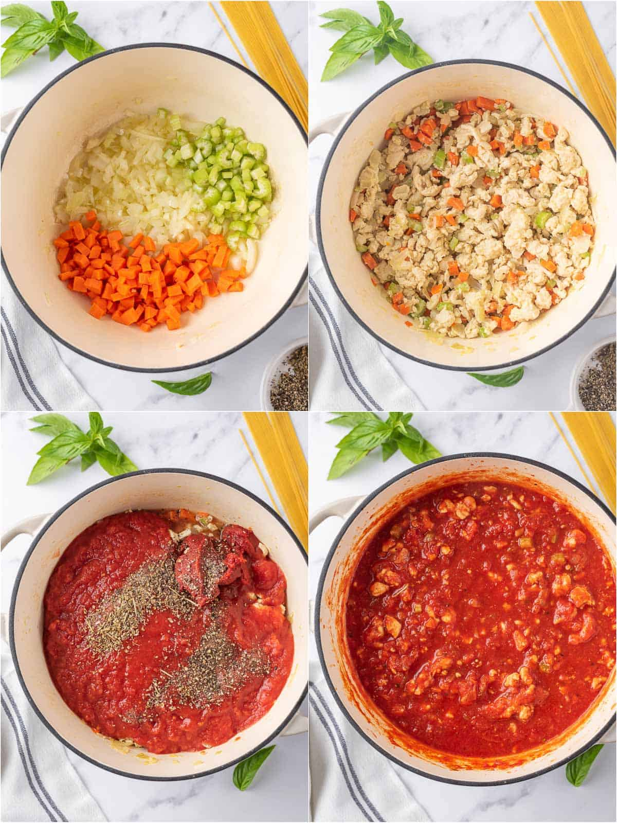 process shots showing how to make the spaghetti sauce