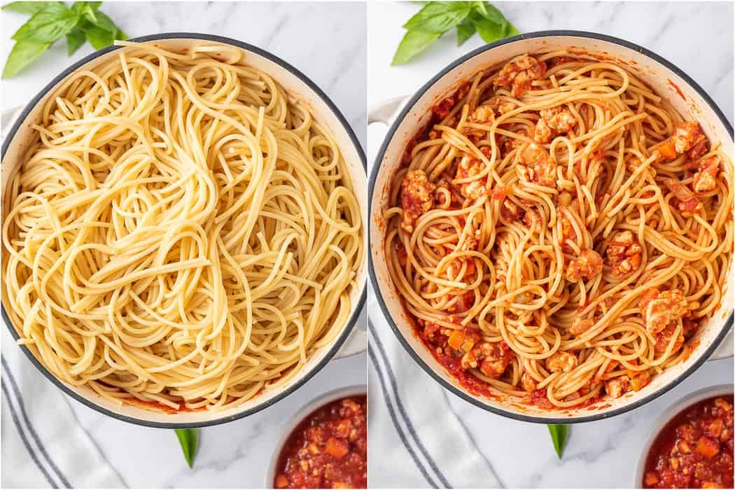 before and after mixing the spaghetti in sauce