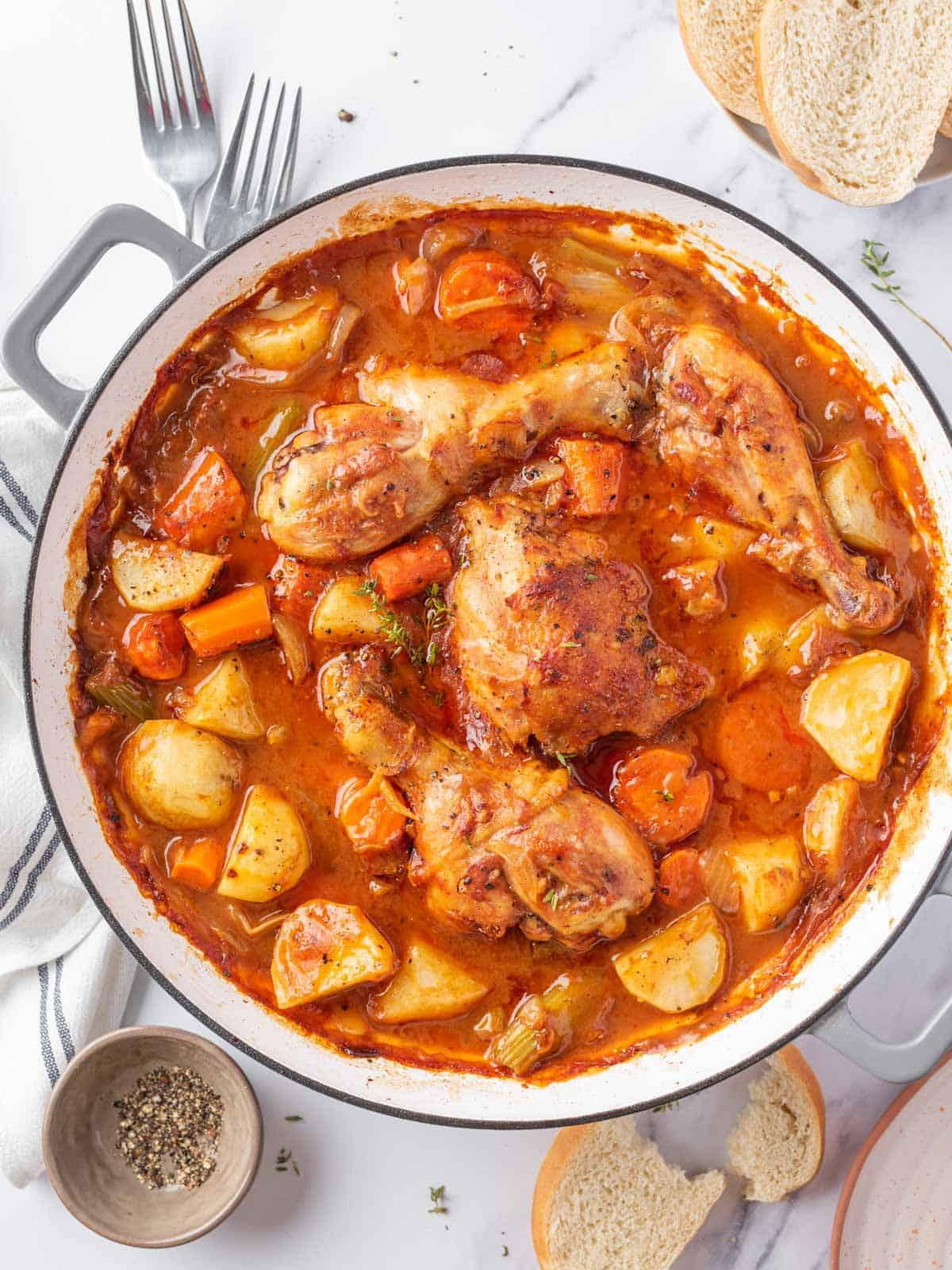 Easy chicken stew recipe with veggies in a skillet