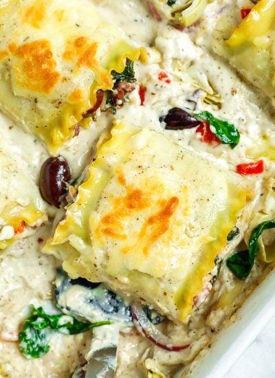 close up shot of a Greek White Alfredo Lasagna roll