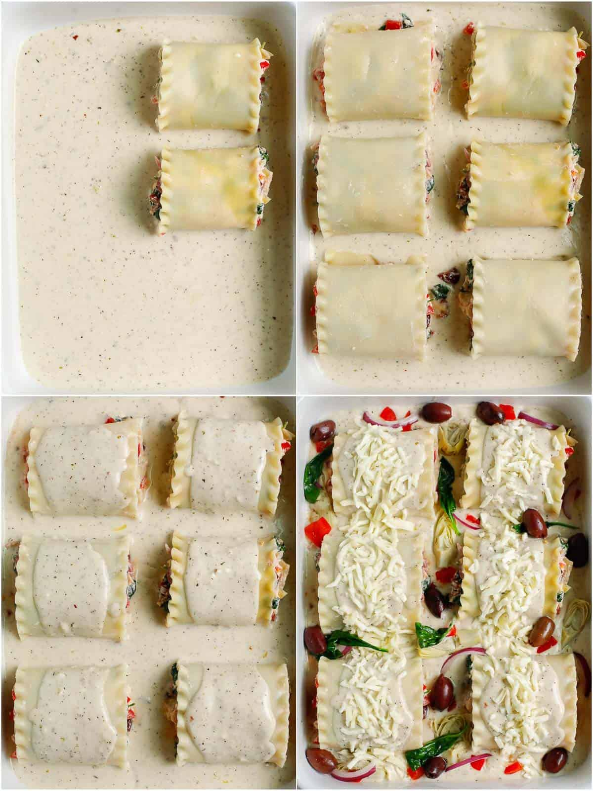 rolls of Greek alfredo lasagna placed in a baking dish with topping