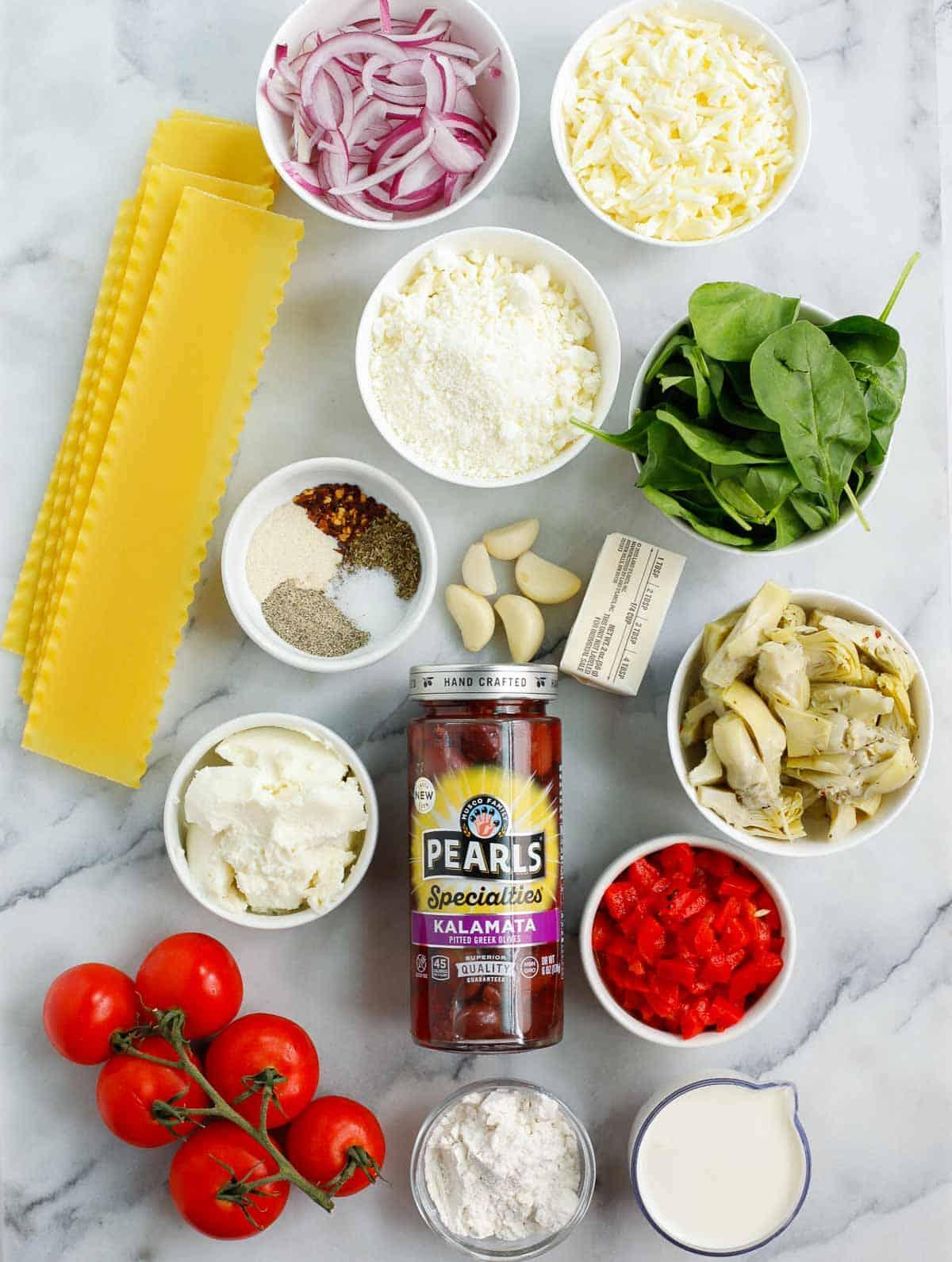 ingredients of the Greek White Alfredo Lasagna recipe