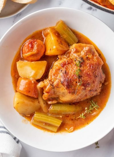 Healthy Chicken Stew recipe served on a white plate