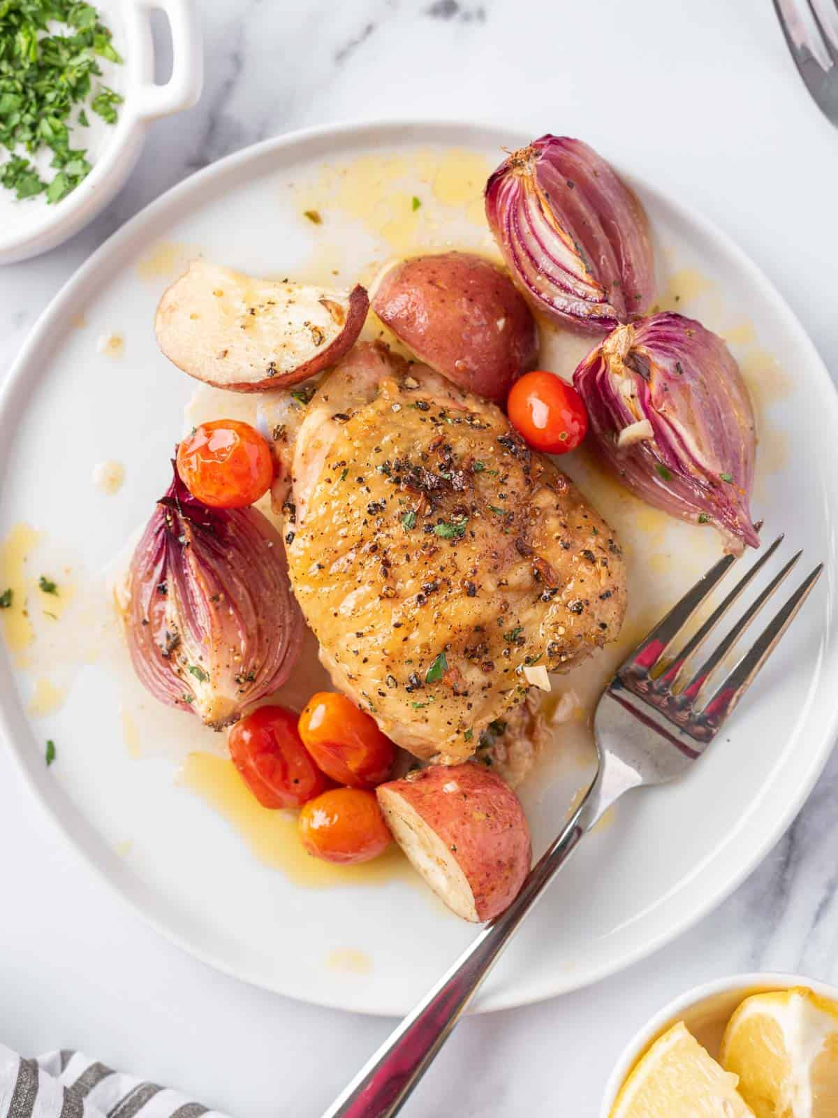 piece of Mediterranean Chicken on a plate with roasted vegetables